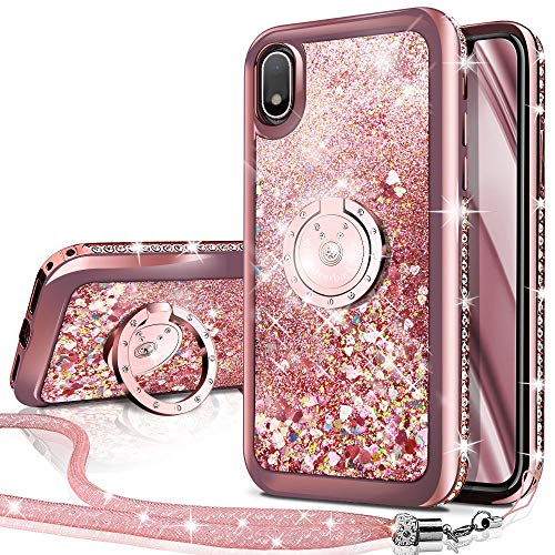 Silverback Galaxy A10 Case,Galaxy M10 Case, Moving Liquid Holographic Sparkle Glitter Case with Kickstand, Bling Bumper with Ring Stand Slim Samsung Galaxy A10 Case for Girls Women -Rose Gold