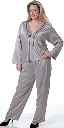 Women's Plus Size Matte Satin Pajama Set #2082x at Amazon Women's ...
