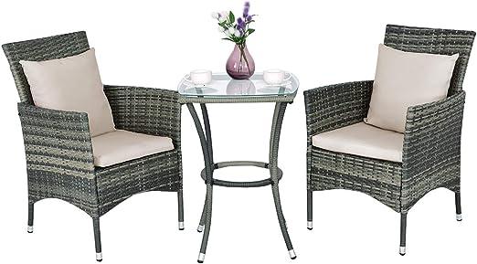 Cosway - Conjunto de muebles de jardín de resina trenzada de poliratán con mesa, 2 sillas, 2 cojines y 2 almohadas para jardín, terraza, balcón, gris: Amazon.es: Jardín
