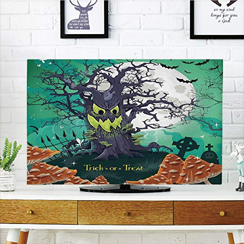 LCD TV dust Cover,Halloween Decorations,Trick or Treat Dead compatibleest with Spooky Tree Graves Big Kids Cartoon Art,Multi,3D Print Design Compatible 47