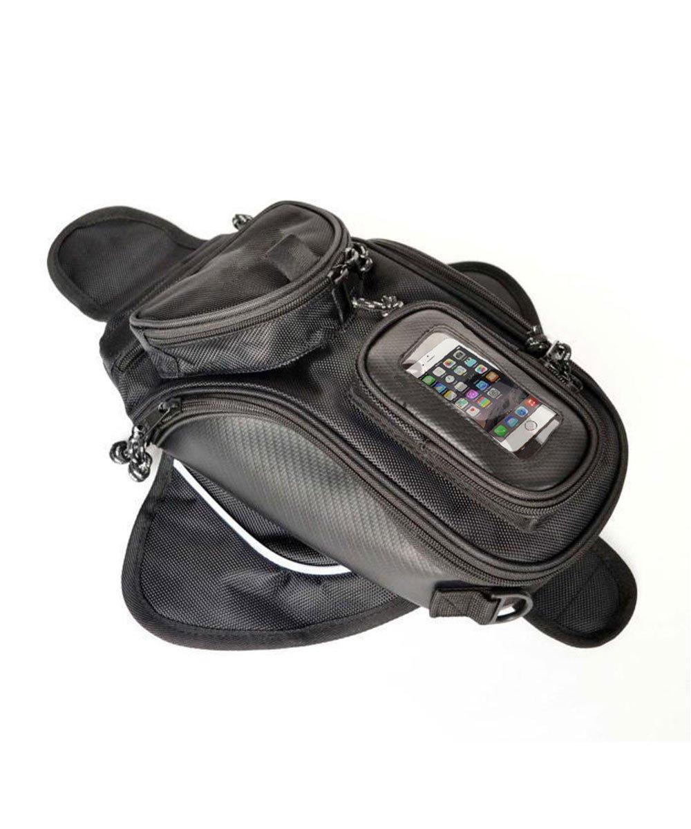 Meago Motorcycle Tank Bag, Hkim Waterproof Accessories Bags with Strong Magnetic Motorbike Bag for Honda Yamaha Suzuki Kawasaki Harley, Black (Tank Bag)