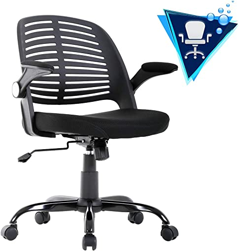Office Chair Desk Chair Mesh Computer Chair with Lumbar Support Flip Up Arms Executive Mid Back Modern Ergonomic Chair for Adults Women Men,Black