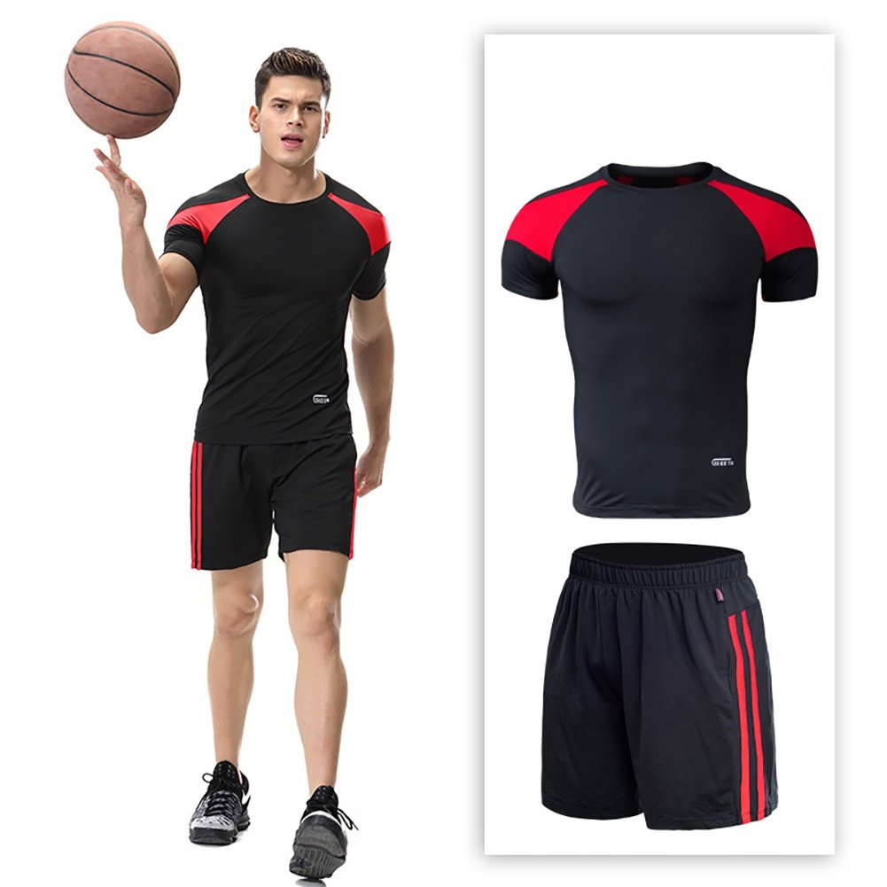 2 sets Sportswear Basketball Clothing Set Quick-drying tight-fitting running training clothing Men's Fitness Short Sleeve + Shorts ANFitness