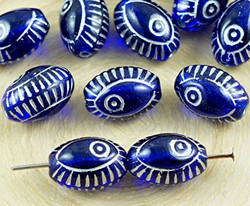 8pcs Crystal Dark Royal Blue Silver Wash Evil Eye Egyptian Revival Mediterranean Talisman Marine Fish Oval Czech Glass Beads 13mm x 9mm