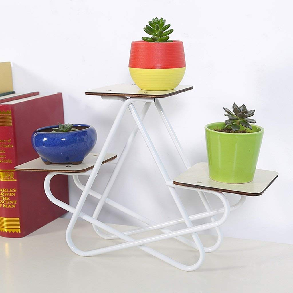 Home Flower Shelf Plant Display Stands Garden Plan Mini Flower Stand Potted Flower Rack Modern Minimalist Multi-Layer Iron Desk Coffee Table Living Room (Color : White)
