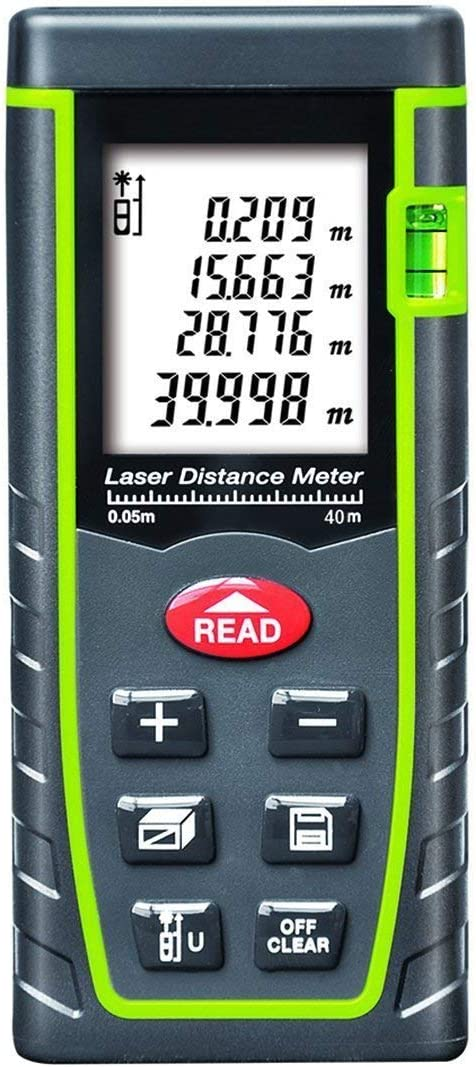 Carousel Meter Laser Measure 196Ft M//in//Ft Mute Laser Distance Meter with 2 Bubble Levels Carry Pouch and Battery Included Measure Distance Area and Volume Backlit LCD and Pythagorean Mode
