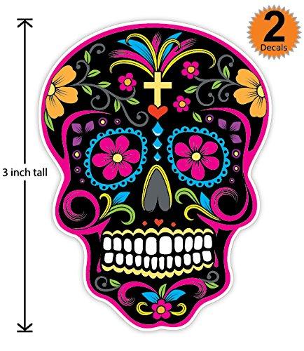 3 inch Mexican Sugar Skull Phone Sticker Version 27 - Día de los muertos - Day of the Dead Sticker Decal