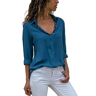 a669e9187b ♥Giulogre♥ Womens Turn-Down Collar Chiffon Long Sleeve Casual T-Shirt Ladies