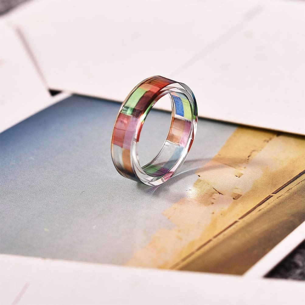 Leweil Multicolor Resin Band Ring for Women Daily by Leweil (Image #3)