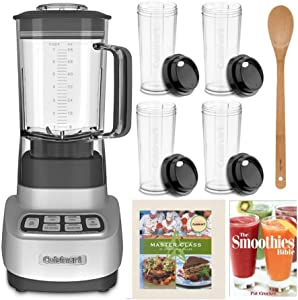 Cuisinart SPB650 Velocity Ultra 7.5 1-HP Blender with 4 Travel Cups, 2 Cookbooks, and Bamboo Spoon Bundle (5 Items)