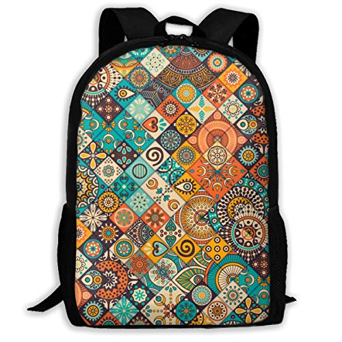 School Backpack Set School Bag Boys&Girls Bookbag Travel Daypack-Vintage Marble Mexican Ceramic Tile Medallion