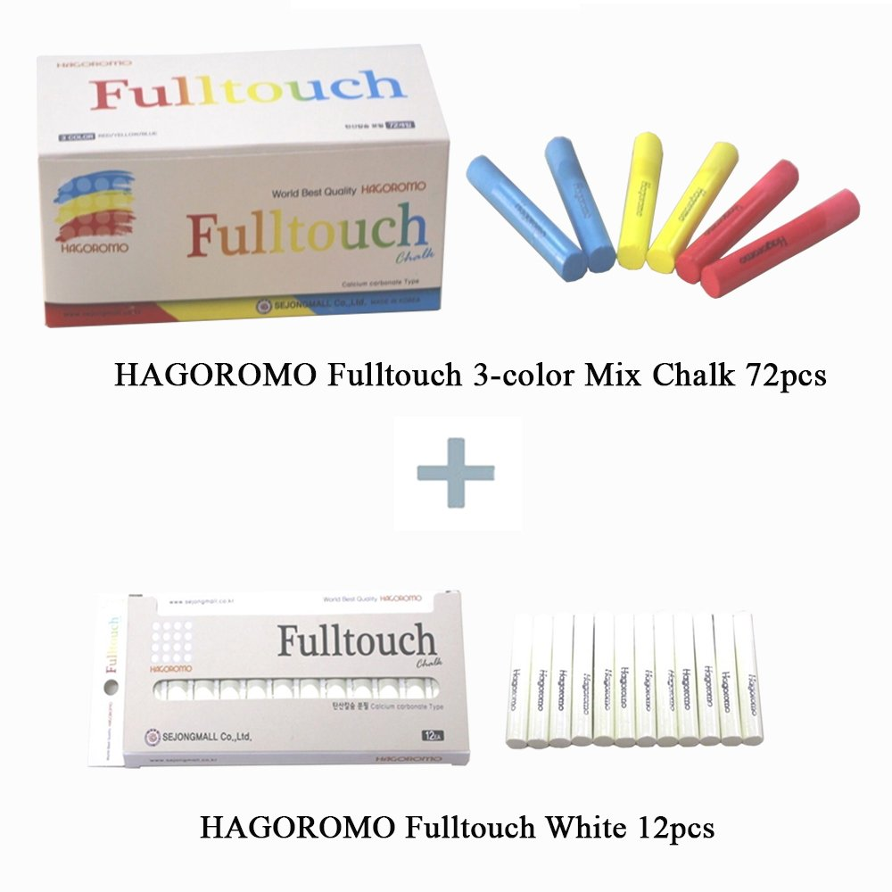 Fulltouch 3-Color Mix Chalk 72pcs & Hagoromo Fulltouch White Chalk 12pcs by Hagoromo