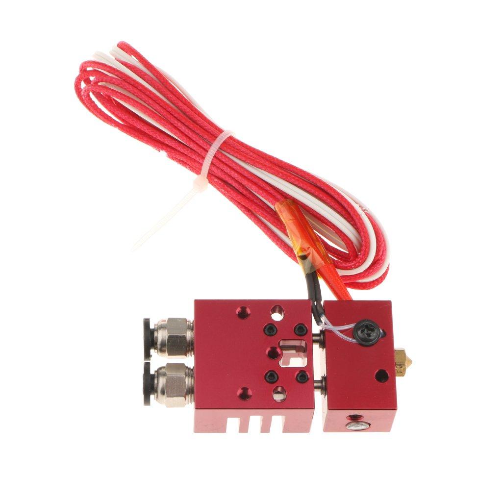 perfk 3D-Drucker Multi-Color Hotend Dual Head DüseExtruder Teile Düse 0.4mm mit Kabel