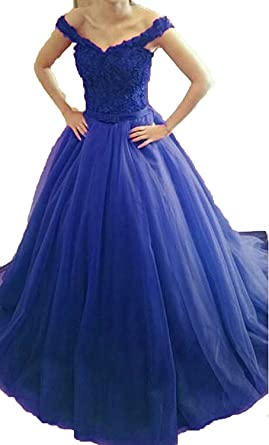 b8058a3a6f43 Image Unavailable. Image not available for. Color: TBdress Women's Long Lace  Evening Dress Tulle Open Back Prom Gown with Sash Royal ...