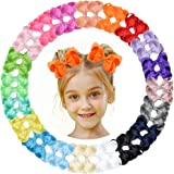 "40pcs Baby Girls Grosgrain Ribbon Hair Bows Headbands 4.5"" Elastic Hair Band Hair Accessories for Infants Newborn"