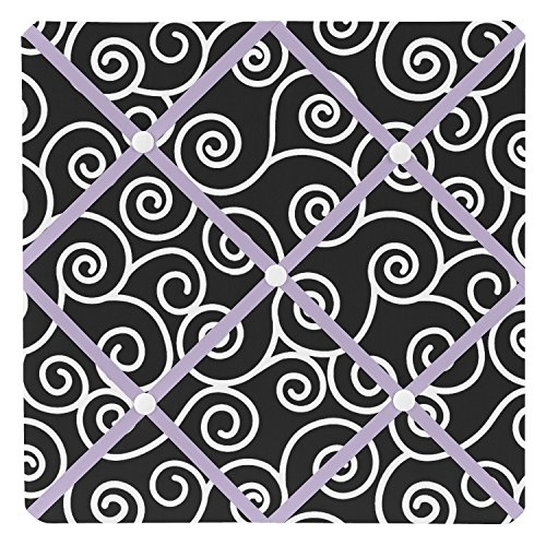 Sweet JoJo Designs Purple and Black Kaylee Fabric Memory/Memo Photo Bulletin Board