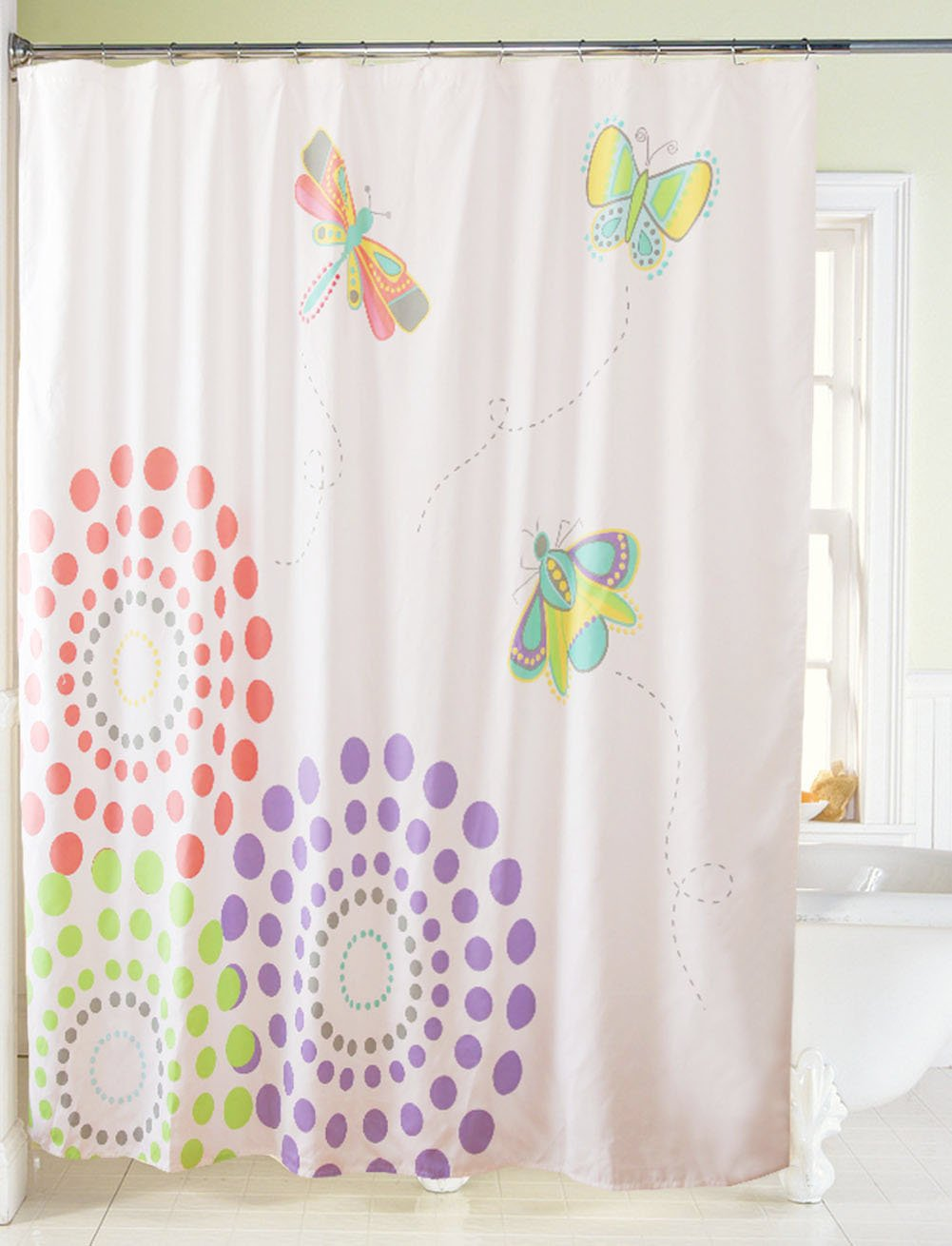 Spring Butterfly Dragonfly Colorful Printed Fabric Shower Curtain ...