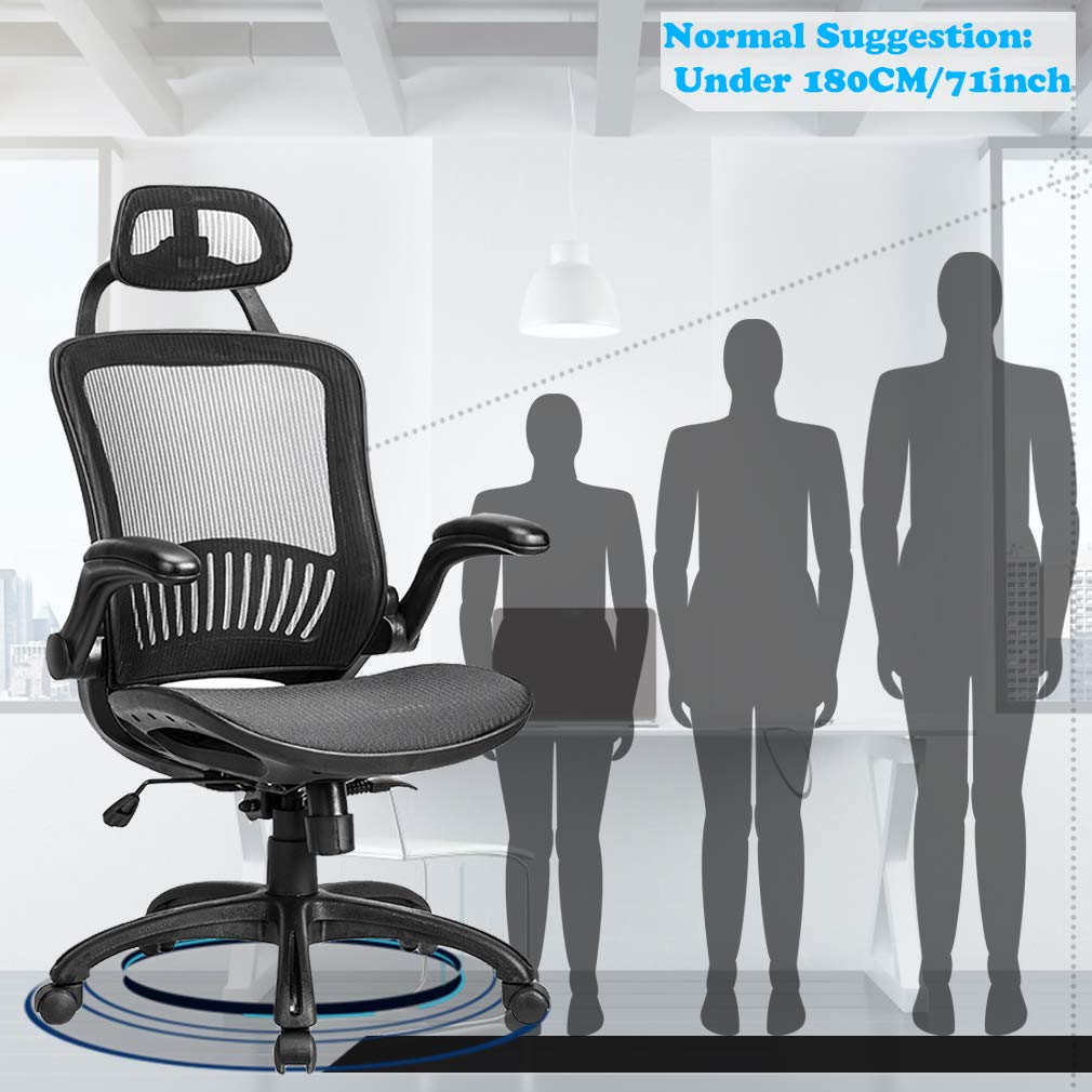 Computer Desk Office Chair, Ergonomic Executive Mesh Task Chair Lumbar Support for Office Chair with Flip-up Arms by BestOffice (Image #4)