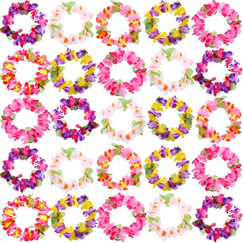 (Blulu 18 Set Colorful Luau Hawaiian Flower Leis Bracelets Headband Tropical Silk Flower Lei Theme Party Favors Holiday Wedding Beach Birthday Decorations)