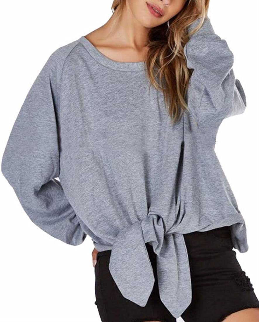 Jmwss QD Womens Basic Loose Long Slevee Bow Tie Sweatshirts Pullover Grey XS