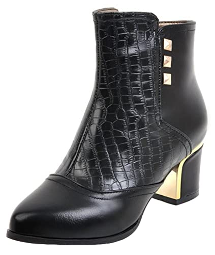 Women's Sexy Studded Rivets Snake Patterned Pointed Toe Medium Block Heel Side Zipper Ankle Boots