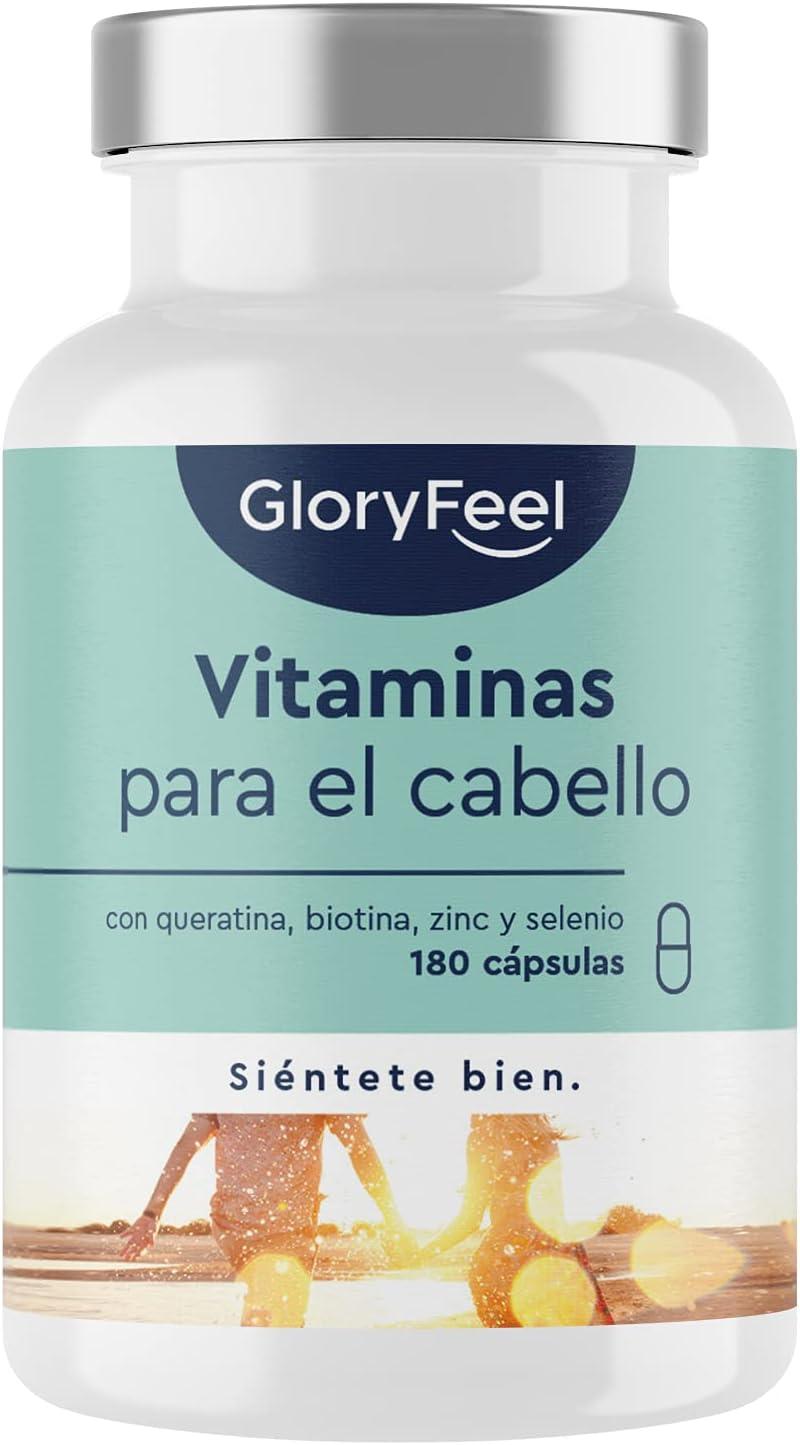 Vitaminas para el cabello - Altas dosis de queratina, biotina, zinc, selenio, extracto de mijo, vitaminas B bioactivas y más - 180 cápsulas para 3 meses - Cápsulas capilares para hombres y mujeres