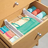"mDesign Adjustable, Expandable Drawer Organizer/Divider - Foam Ends, Strong Secure Hold, Locks in Place - for Bedroom, Bathroom, Closet, Office, Kitchen Storage - 2.5"" High - 4 Pack, White"