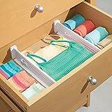 mDesign Adjustable Deep Drawer Organizer Dividers for Dresser Storage - Pack of 4, Short, White