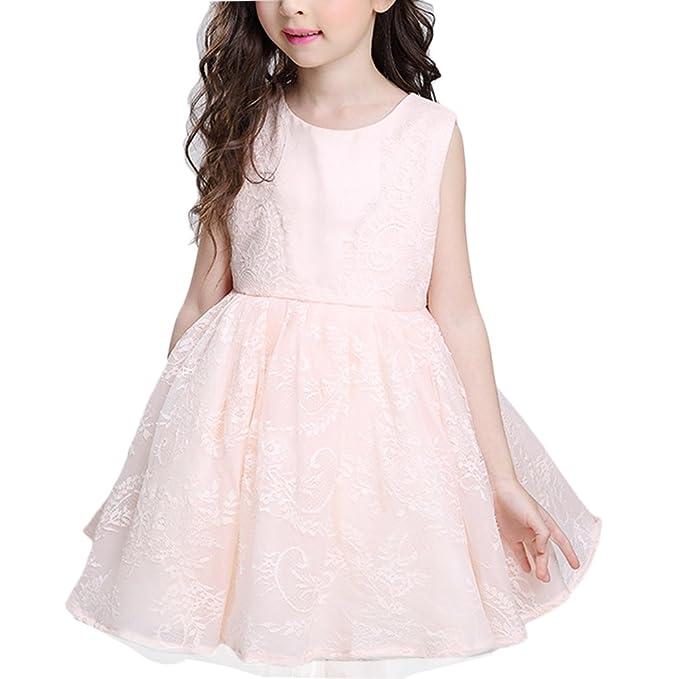 Zhhyltt Vestido de princesa de encaje de niña de las flores Fiesta de pajarita Vestido de