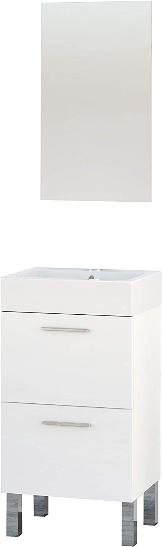 Baikal 280034002 Mueble de baño Lavabo cerámico y Espejo, Ideal para aseos o baños pequeños, Melamina 16, Blanco Mate, Una Puerta y un Cajon
