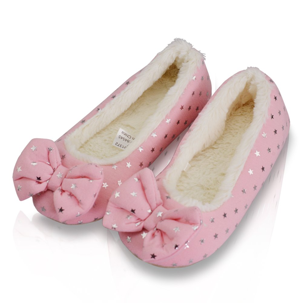 LA PLAGE Girl's Indoor Cozy Soft Satin Classic Ballerina Slippers with Bowknot 10 US Pink