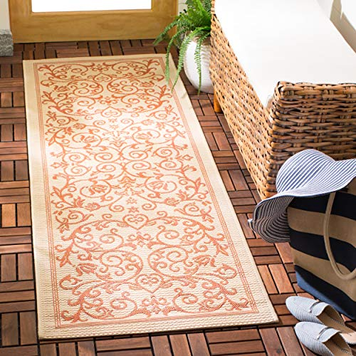 (Safavieh Courtyard Collection CY2098-3201 Natural and Terra Indoor/ Outdoor Runner (2'3
