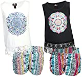 dollhouse Girls 4-Piece Graphic Top and Short Set, Geometric, Size 4'