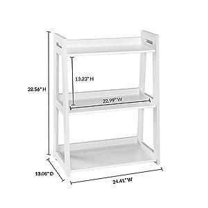 Green Wood Sheesham Wood 3 Tier Ladder Shelf Bookcase for Living Room | White