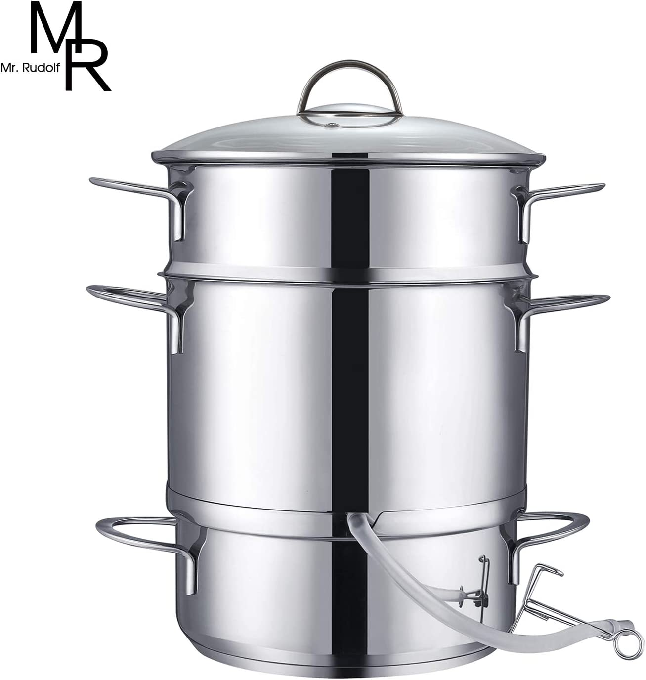 Mr. Rudolf 26cm 11-Quart Stainless Steel Fruit Juicer Steamer Multipot, Silver