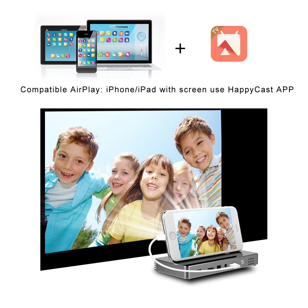 Roadwi DLP Mini Projector Probable Pico Projector, Android UI 4.4.4 Operating System With 120 Inch Display Support 1080P WiFi/Bluetooth/USB/HDMI/TF Card/Audio Speakers with Free Tripod by roadwi (Image #7)