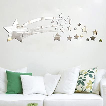 66cc63796d7 Buy Gaddrt Modern Mirror Style Removable Decal Art Mural Wall Sticker Home  Room DIY Decor - 180 600mm (silver) Online at Low Prices in India -  Amazon.in