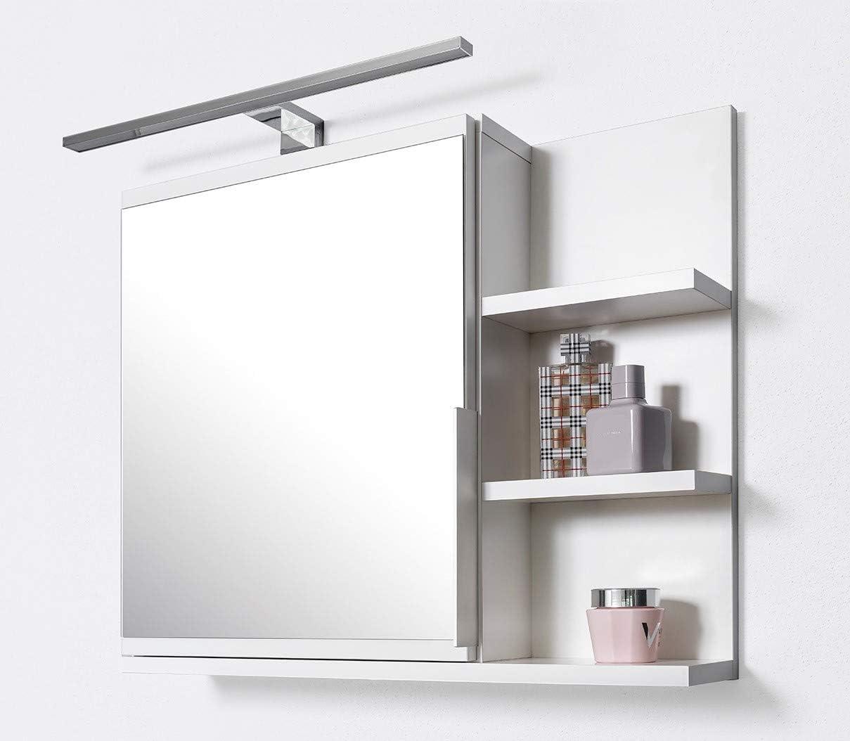 Armario de baño con espejo Domtech con estantes e iluminación LED, espejo de baño, color blanco, armario con espejo, R: Amazon.es: Hogar