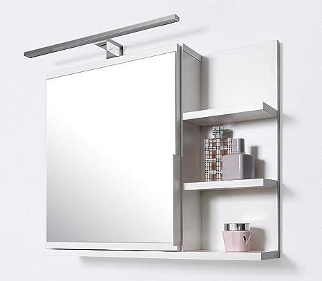 Specchio Bagno Con Mensola.Domtech Armadietto Da Bagno Con Specchio Con Mensole E Illuminazione A Led Specchio Da Bagno Bianco