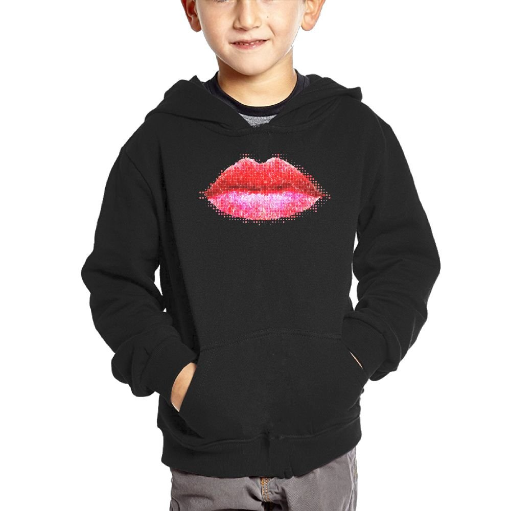 2 Boys Casual Soft Comfortable Sweatshirts Kangaroo Pocket Hoodies Small Hoodie Lipstick