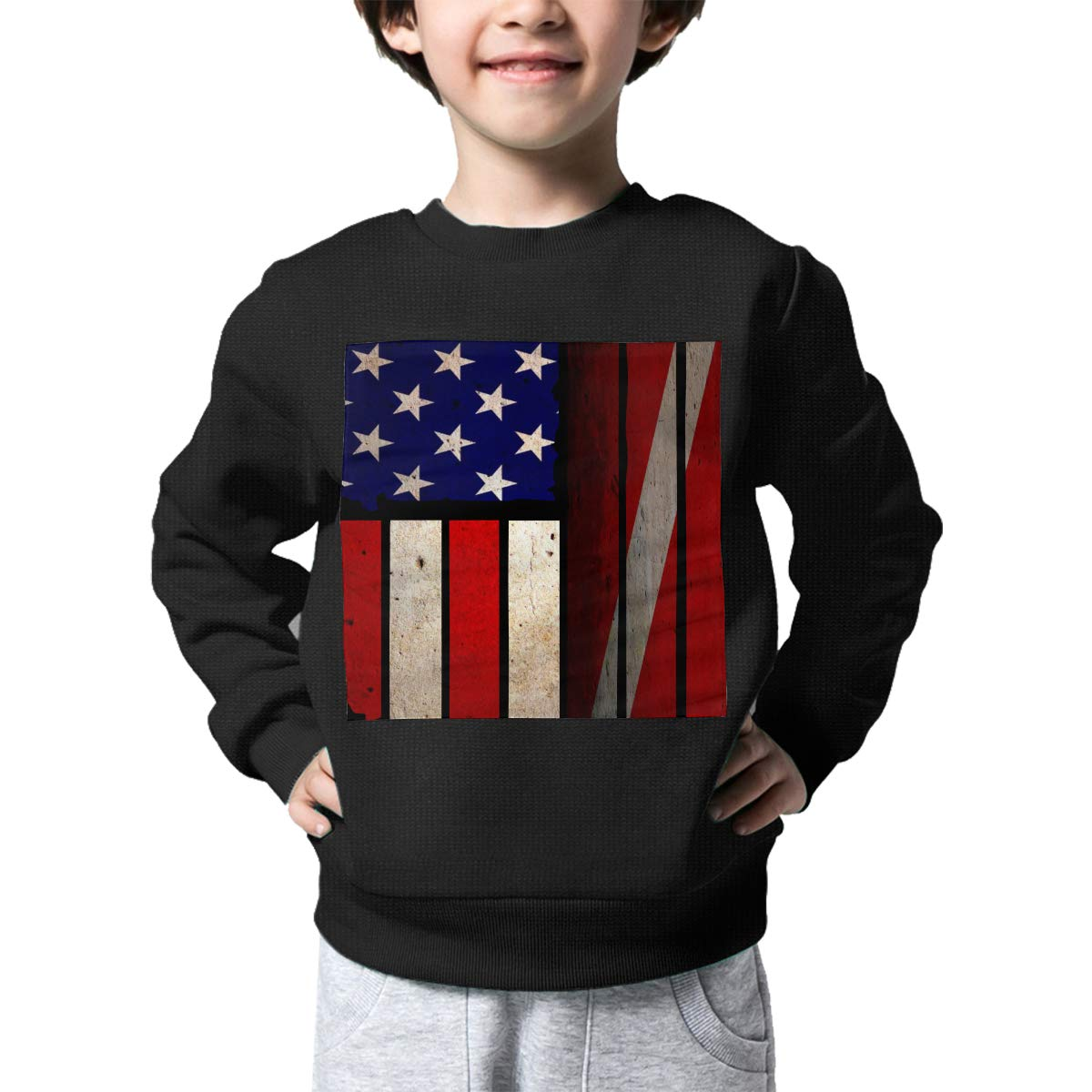 Boys Girls Vintage USA Dive Flag Lovely Sweaters Soft Warm Kids Sweater