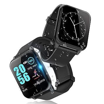 Reloj Inteligente,Smartwatch Pulsera Actividad Inteligente Impermeable IP67 Pantalla Color Pulsera Podómetro con Pulsómetro (Black)
