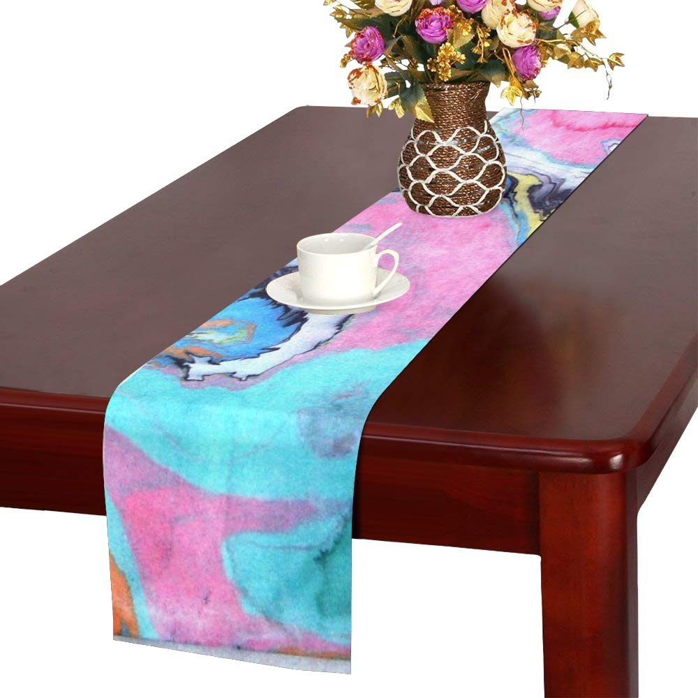 Jnseff Tempera Watercolor Color Table Runner, Kitchen Dining Table Runner 16 X 72 Inch For Dinner Parties, Events, Decor