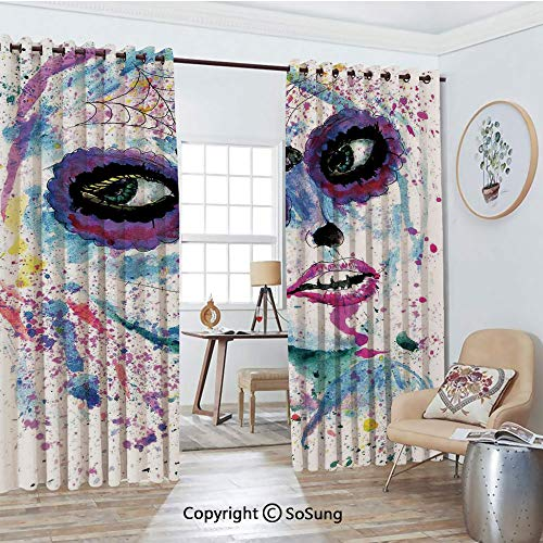 Blackout Window Curtains,Grunge Halloween Lady with Sugar Skull Make Up Creepy Dead Face Gothic Woman Artsy Living Room Bedroom Thermal Insulated Window Drapes 2 Panel Set, 54
