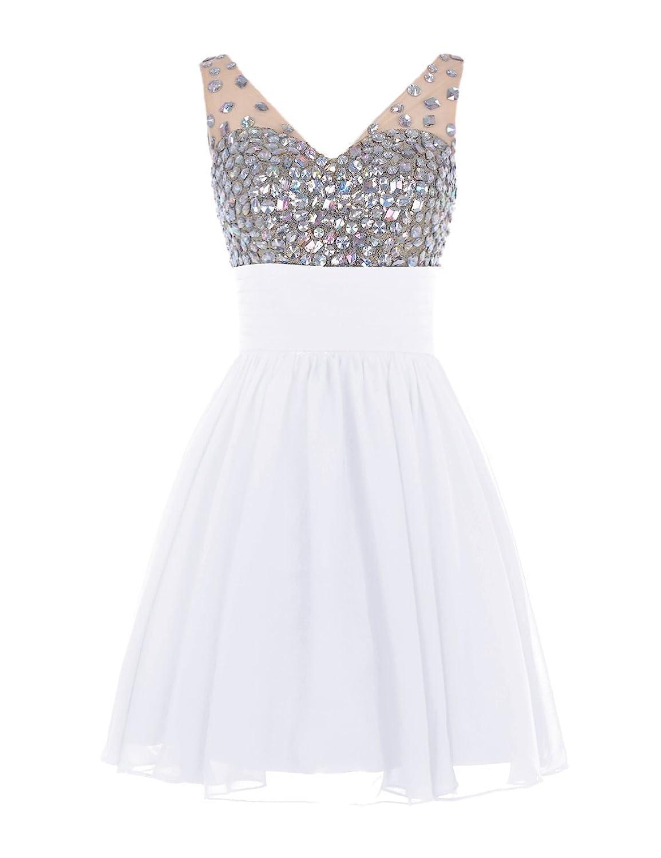 Olidress Women's V-neck Rhinestone Short Prom Dress Homecoming Dress