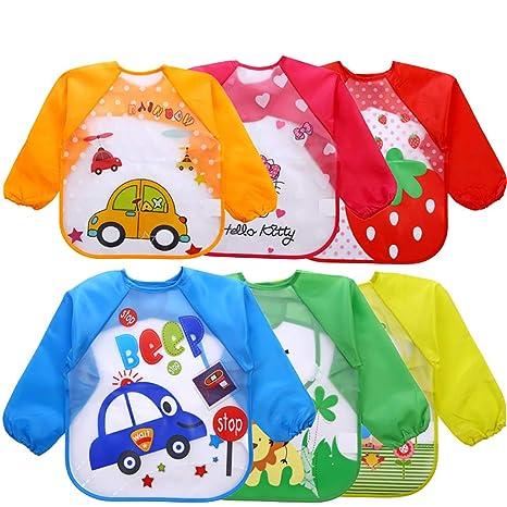 Baberos de bebé con mangas largas Batas de bebé impermeables para niños Delantal para alimentar al bebé comer jugando Delantales 1Pc color al azar