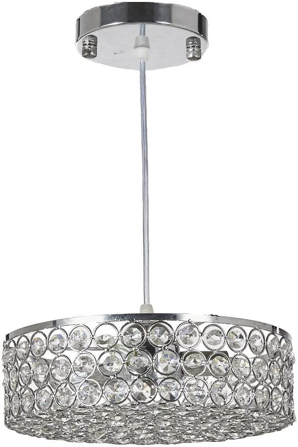 Diamond Life Chrome Finish Metal Shade Crystal Chandelier Hanging Pendant Ceiling Lamp Fixture, Built-in LED Bulbs