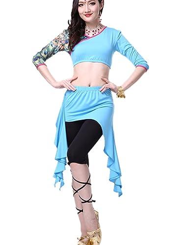 Ropa de baile Traje de danza del vientre Set Exotic Top & Irregular Edges falda & Tight Pantalones