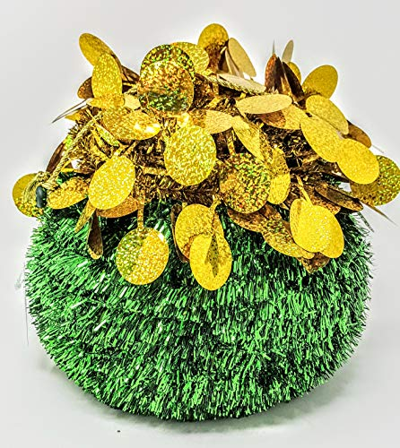 Tinsel Tabletop Pot of Gold Centerpiece (APX 8.5 in x 8.5 in) Plastic Frame with Green foil wrap and Gold Halographic Glitter Balls on top and Metalic Gold Cord Handle (with Foil Happy Pat's Day)