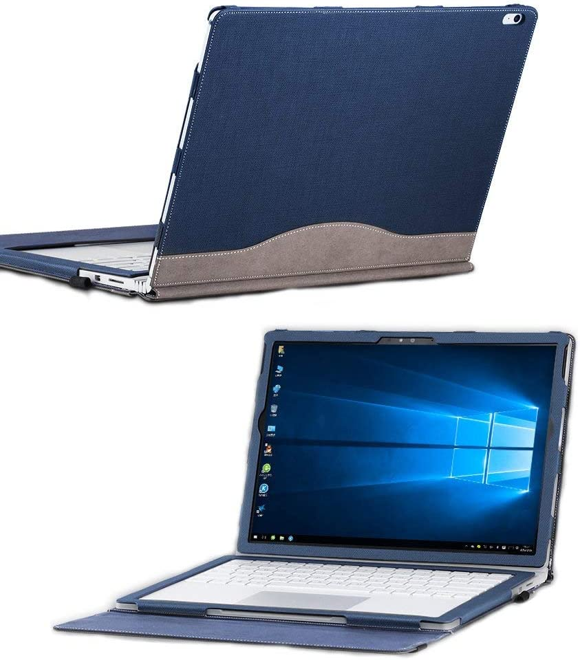 """for Microsoft Surface Book 2 15 inch Cover Case, PU Leather Detachable Protective Folio Case for 15 Inch Microsoft Surface Book (15"""" Surface Book 2,Blue)"""